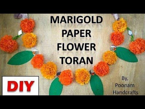 Diwali Toran | How to make ( झेंडू फुल ) Marigold Paper Flower Garland | DIY Diwali decoration ideas