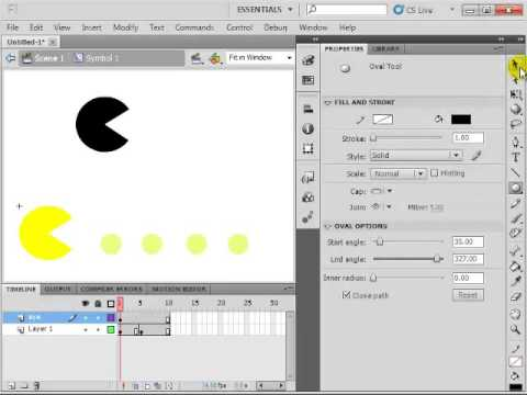 How to create pacman animation on Adobe Flash Professional