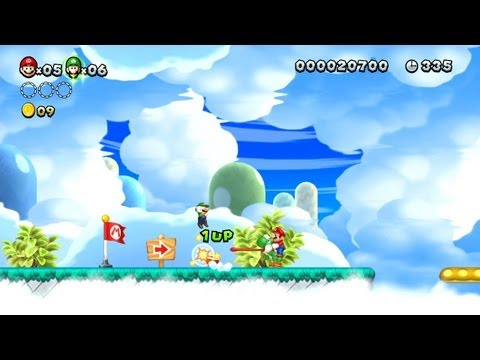 New Super Mario Bros. U -- Working With Yoshi for Endless 1-Ups in Seesaw Shrooms