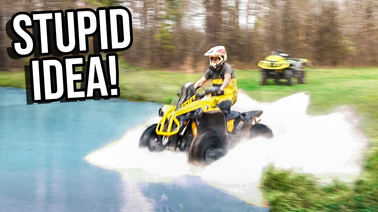 SKIMMING The POND On My FOUR WHEELER   65MPH+