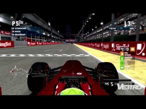 F1 2012 - Ferrari Singapore Marina Bay Street Circuit Gameplay