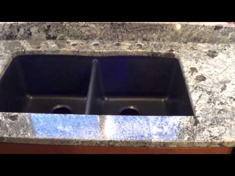 Custom Made In Maine Blue Arraras Granite Countertop Installed W/Granite Composite Undermount Sink