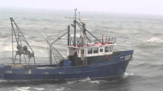 Greymouth Fishing Boat, The Happy V, going over The Bar