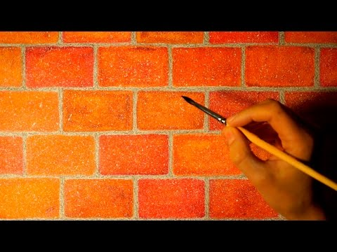 Drawing realistic brick wall in watercolor. Easy and simple.