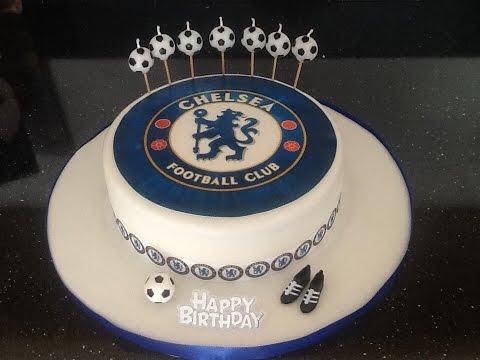 Chelsea cake football. How to make tutorial steps  boy birthday cake fondant