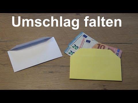 Einfache Anleitung Kuvert falten Umschlag basteln Geldgeschenke nett verpacken