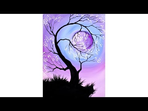 Cherry Tree holding the Moon Step by Step Acrylic Painting for Beginners