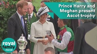 Prince Harry and Meghan, Duchess of Sussex present Ascot trophy to Frankie Dettori
