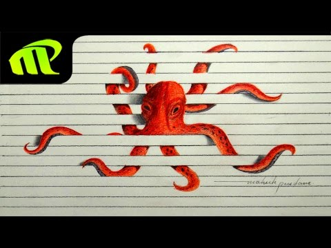 3D Paper Illusion Octopus Drawing - Time Lapse | Trick Art