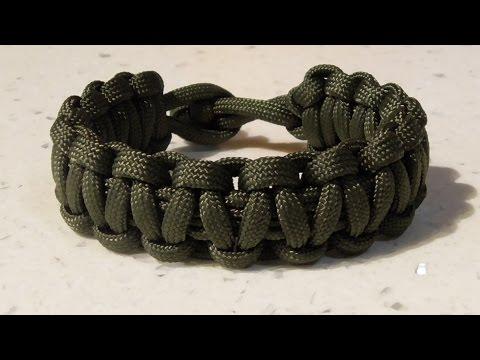 One Strand Cobra Weave Paracord Survival Bracelet No Buckle Tutorial