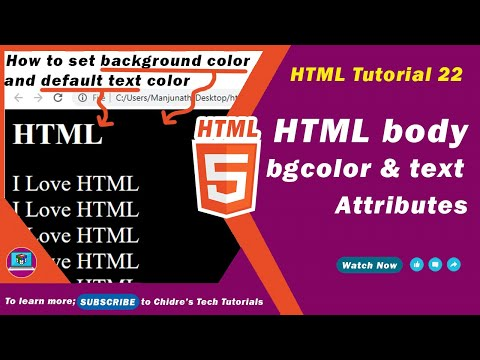 HTML video tutorial - 22 - html bgcolor attribute and html text attribute
