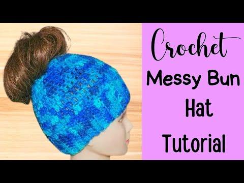 Crochet Messy Bun Hat Tutorial - Crochet Jewel