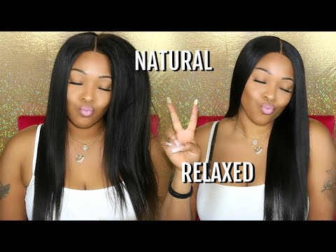 Hair Tutorial: My Natural To Relaxed Hair Look| No Salon Needed | 360 Lace Frontal Wig | WowAfrican