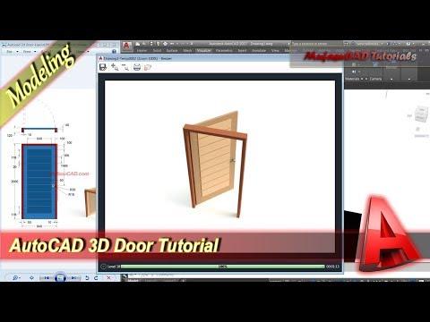 Autocad Classes 3D Modeling + Rendering Door Tutorial Practice Exercise 44