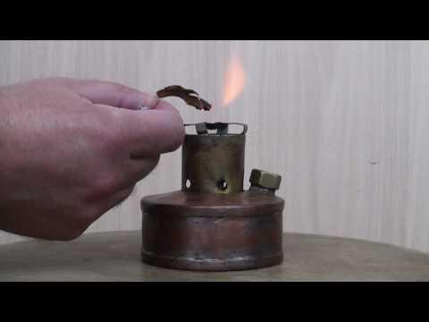 Homemade copper (coil) alcohol burner.