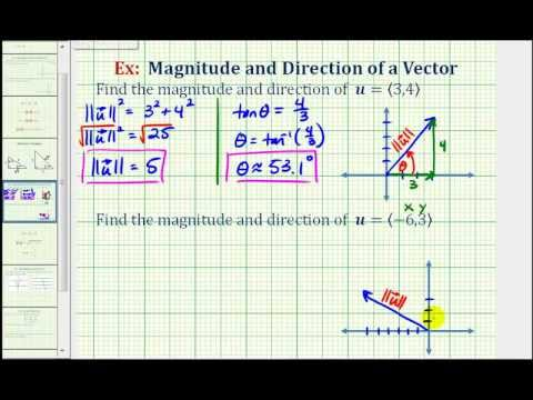 Ex:  Find the Direction and Magnitude of a Vector in Component Form