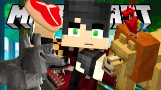 He FALLS in a Lion cage! The Minecraft Zoo!