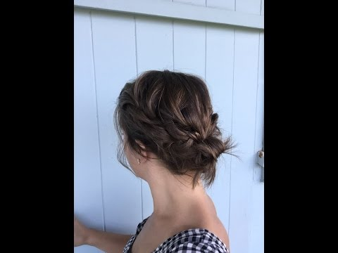Easy Braided Updo on chin length hair.