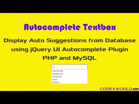 Autocomplete Textbox using jQuery, PHP and MySQL