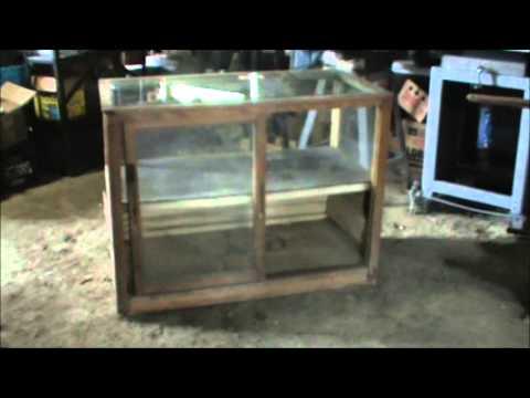 Showcase Display case glass top antique wood 2 door