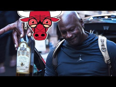 Michael Jordan STUMBLES w/ BLOODSHOT EYES & Half Empty Bottle of TEQUILA
