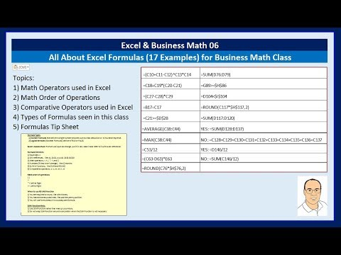 Excel & Business Math 06: All About Excel Formulas (17 Examples) for Business Math Class