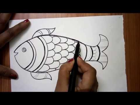 Fish Madhubani Painting ( Sketch )