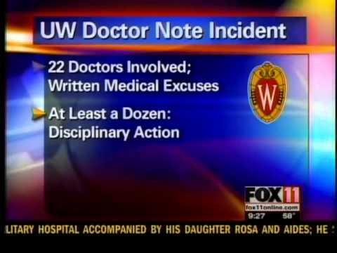 UW doctor note incident