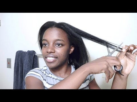 Watch Me Trim My Hair | 6 Months Post Relaxer