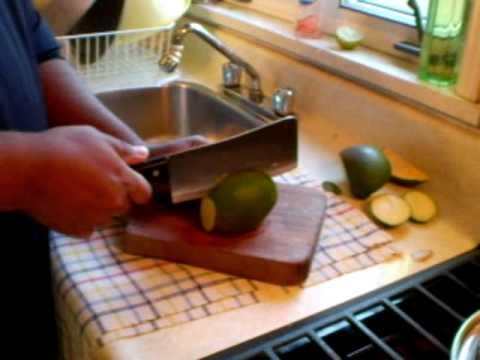 How to cut green mango for Mango Talkari
