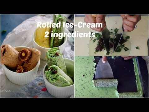 Thai Rolled Ice-Cream at home in hindi | Homemade Rolled Ice-Cream using 2 base ingredients