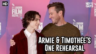 Armie Hammer & Timothée Chalamet talk of their One Rehearsal | Call Me By Your Name