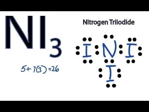 NI3  Lewis Structure - How to Draw the Dot Structure for NI3 (Nitrogen Triiodide)