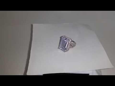 8.5 Carat Emerald Cut Created Diamond 925 Sterling Silver Ring