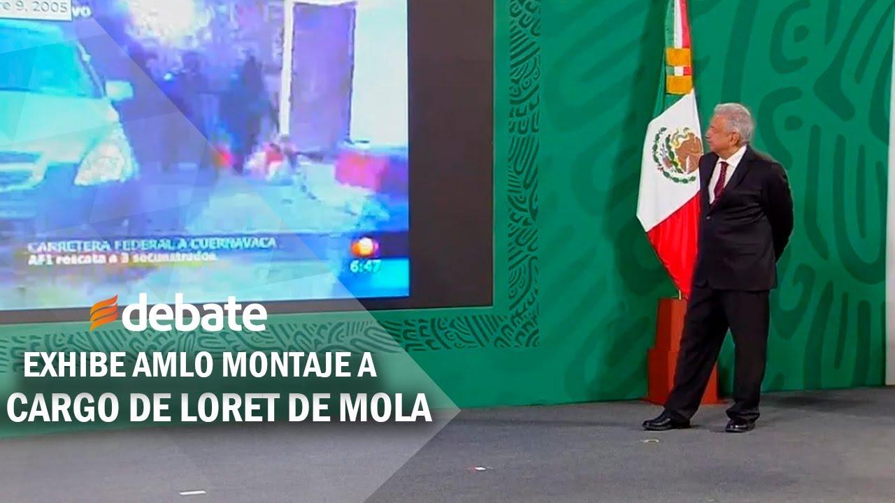 Exhiben en La Mañanera de AMLO montaje del caso Florece Cassez a cargo de Loret de Mola