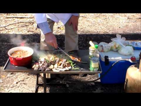 Wild Hog and Deer Stir Fry on  .25 Inch Steel Plate