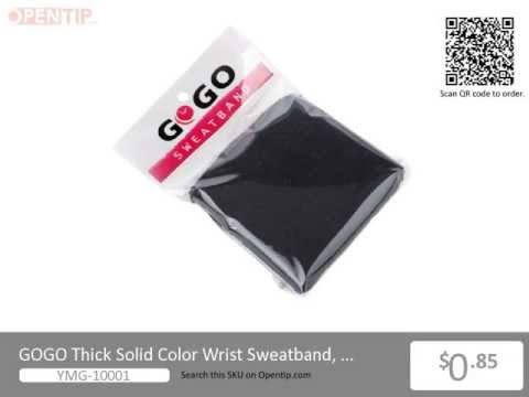 GOGO Thick Solid Color Wrist Sweatband from Opentip.com