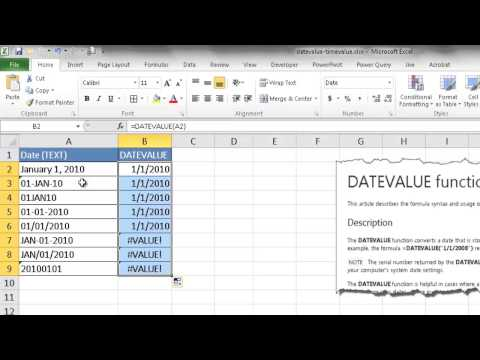 Use the DATEVALUE and TIMEVALUE Functions