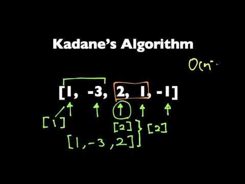Kadane's Algorithm to Maximum Sum Subarray Problem
