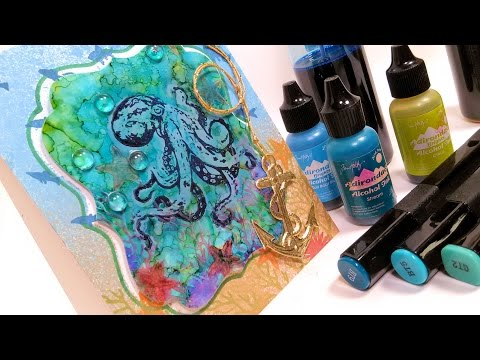 Learn Alcohol Ink Techniques on YUPO {Octopus Card}