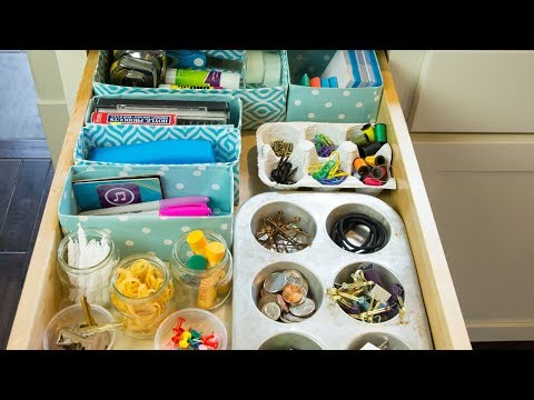How to Organize a Cluttered Drawer Using Recycled Household Items