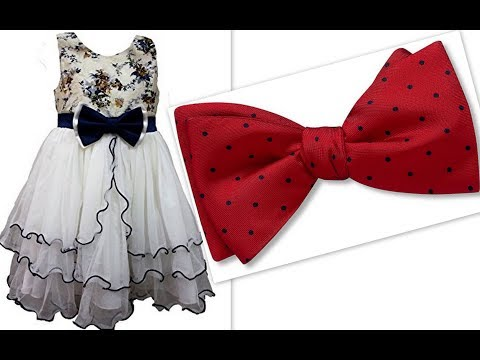 How to sew bow from fabric for baby girl's party wear dress and hair accessories DIY