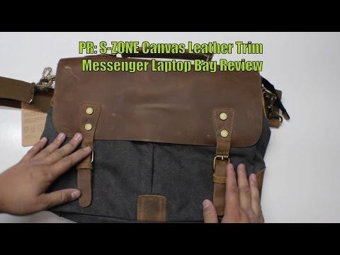 PR: S-ZONE Canvas Leather Trim Messenger Laptop Bag Review