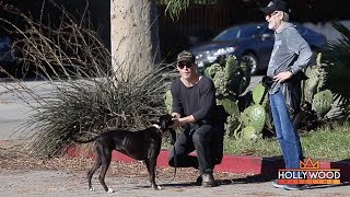 Chris Pine and Dad Take His Dog For a Walk During the Holidays!