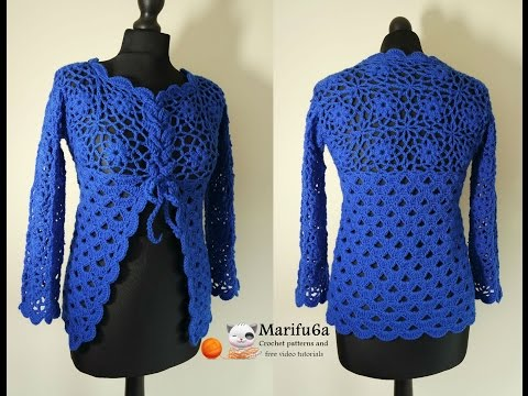 How to crochet jacket free tutorial pattern all sizes