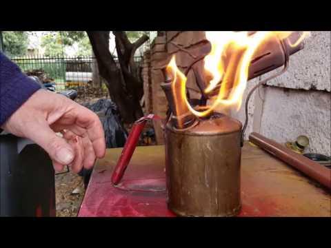 Vintage paraffin flame blower start up