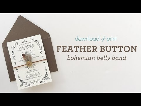 Bohemian Wedding Invitation - Feather Belly Band