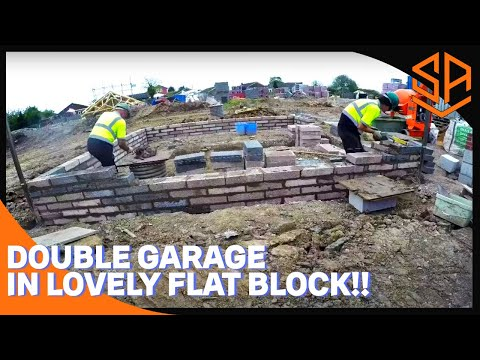 Bricklaying with Steve and Alex DOUBLE GARAGE FOUNDATION IN 7N CONCRETE BLOCK  PART 1