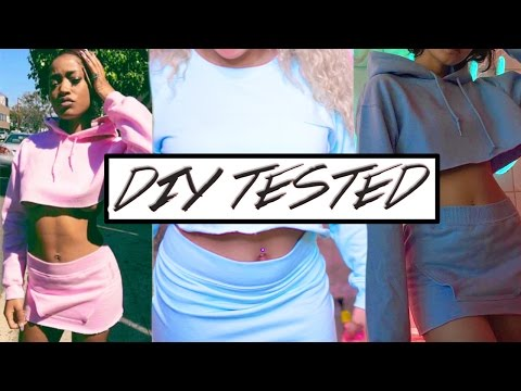 DIY TESTED // MAKE OLD HOODIE INTO TWO PIECE BODYCON SET | DEJA DOES DUMB SH*T ♡