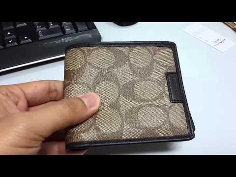 COACH Heritage Signature Double Billfold Men's Wallet Khaki Mahogany F74739 - [review]